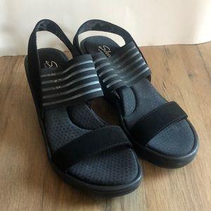 Sketchers Memory Foam Black wedge sandals size 6